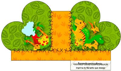 Caja abierta en forma de corazón de Fiesta de Dinosaurios.