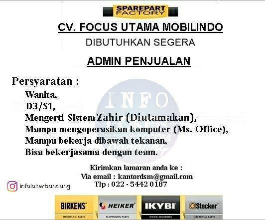Lowongan Kerja CV. Focus Utama Mobilindo Bandung Maret 2018
