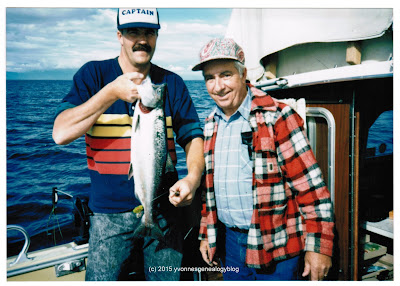 Maurice Belair and Albert Desgroseilliers with a BC salmon