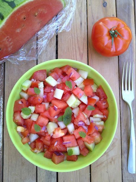 salade watermeloen komkommer tomaat