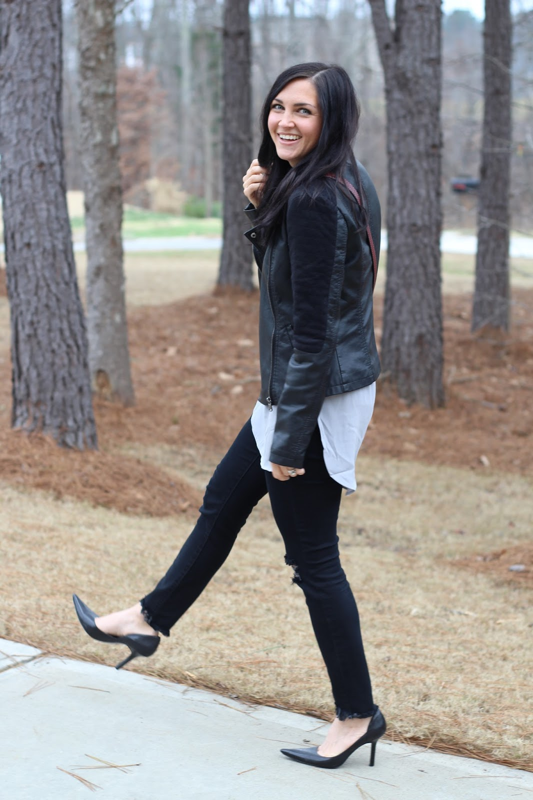 Leather Jacket and Distressed Denim worn with Stilettos