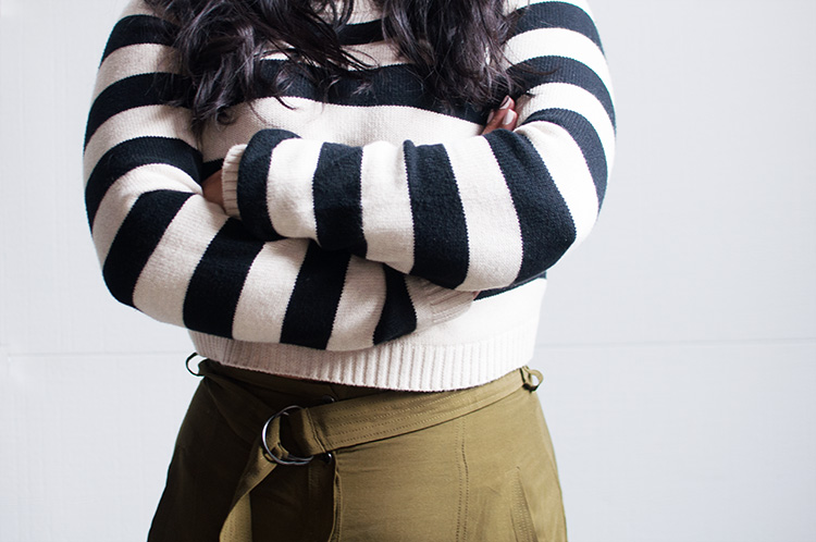 forever 21 striped crop sweater, cropped sweater outfit, cropped sweater look