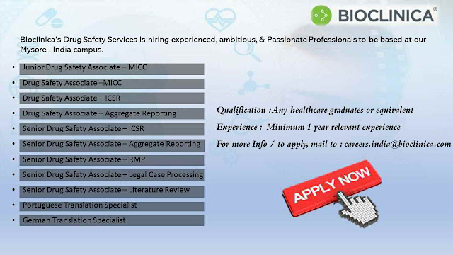Hiring multiple positions for Pharmacy / Life Sciences Graduates @ Bioclinica | Apply Now