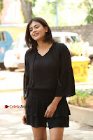 Actress Hebah Patel Stills in Black Mini Dress at Angel Movie Teaser Launch  0011.JPG