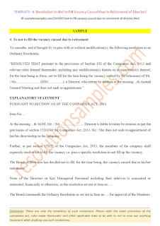 resolution to not to fill vacancy caused due to retirement of director