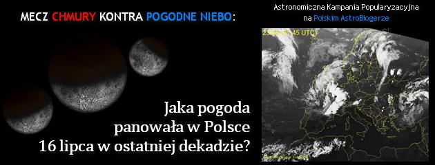 Astronomiczna Kampania Popularyzacyjna, tekst 2: Mecz chmury kontra pogodne niebo: jaka pogoda panowała w Polsce 16 lipca w ostatniej dekadzie?