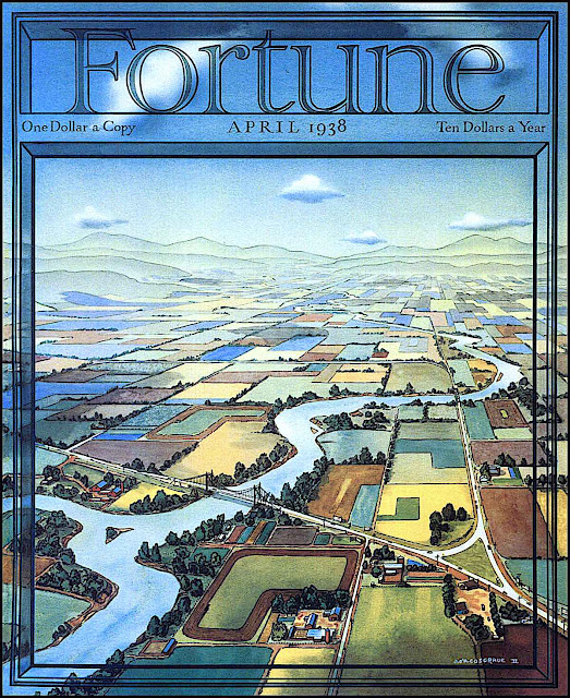 John O'Hara Cosgrave II 1938 illustration for Fortune Magazine, aerial view of a river