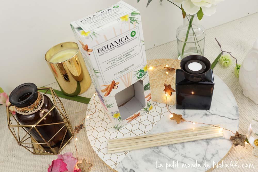 Bâtonnets parfumés Botanica vétiver des Caraïbes et du bois de santal.