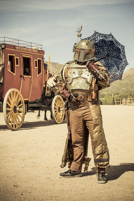 Cosplayer dressed as old western steampunk boba fett (star wars cosplay) steampunk costumes and cosplay