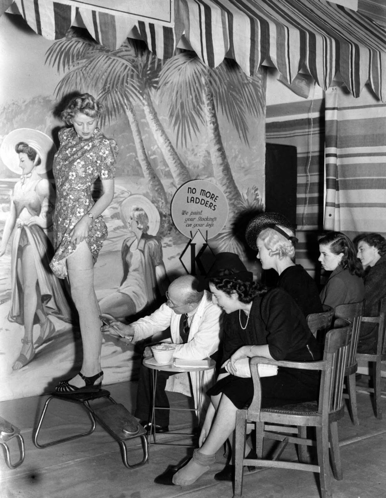 A shoe store offers a unique service by painting stockings on women's legs during the clothing rationing of World War II.