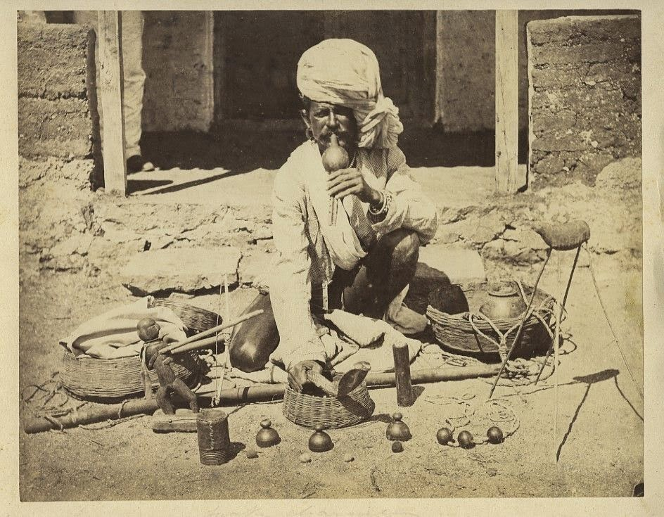 Snake Charmer with his Cobra - c1870's