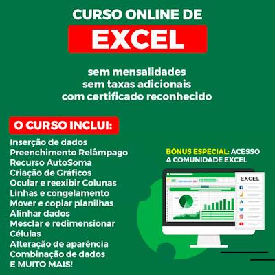 Curso Online de Excel Básico e Avançado