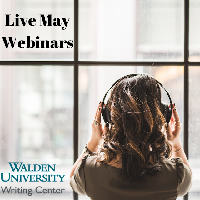 Woman with headphones locking out of window with image titled Live May Webinars Walden University Writing Center
