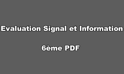 Evaluations Signal et Information 6ème PDF