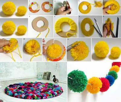 Paso a paso para hacer alfombras DIY con pompons para el hogar