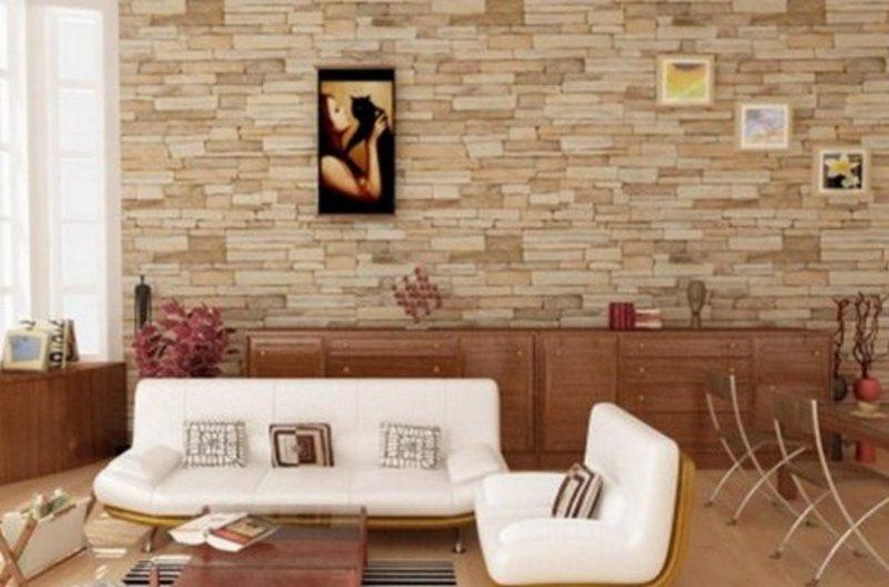 motif keramik dinding ruang tamu terlihat minimalis