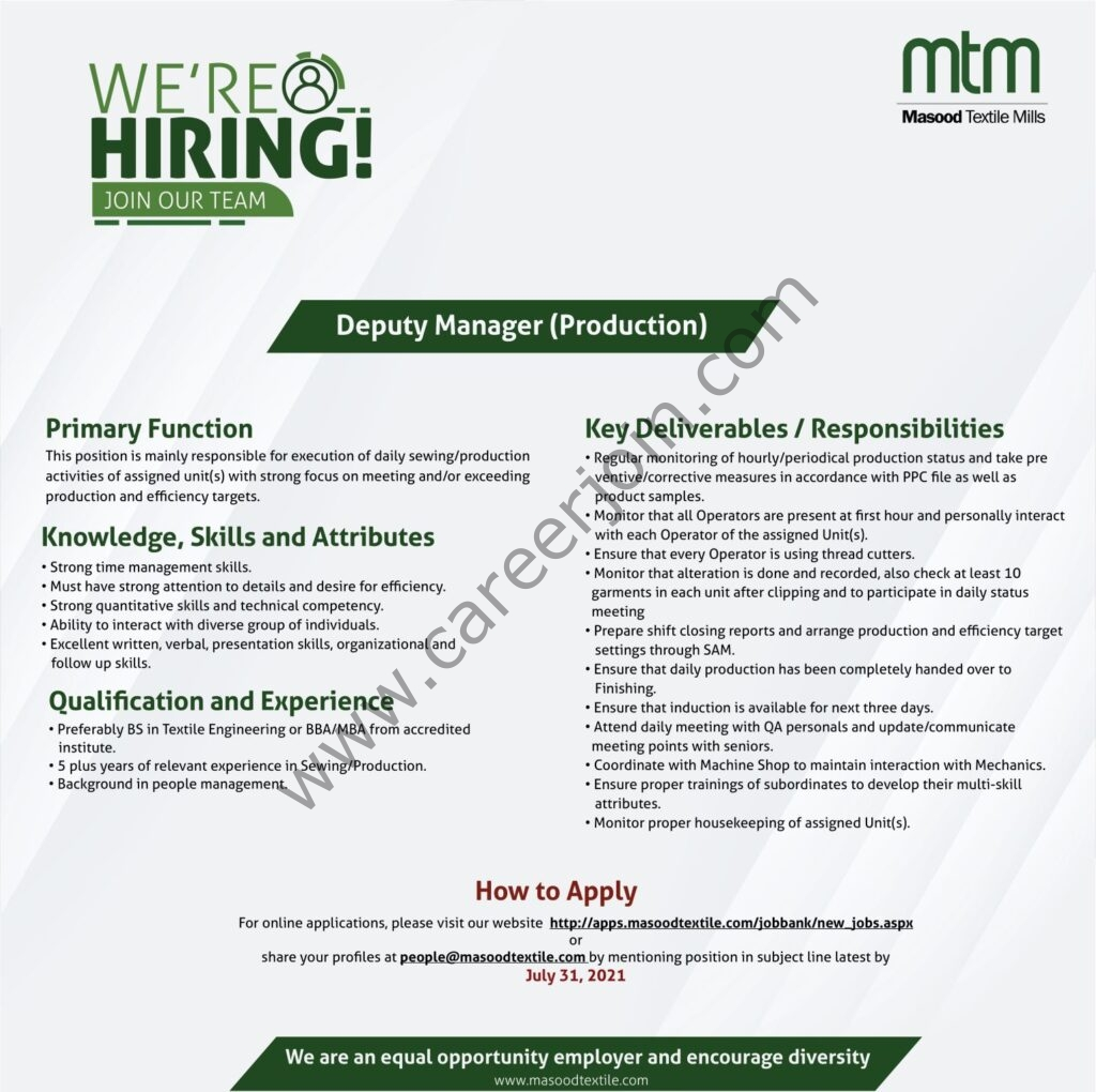 www.masoodtextile.com Jobs 2021 - Masood Textile Mills Ltd MTM Jobs 2021 in Pakistan