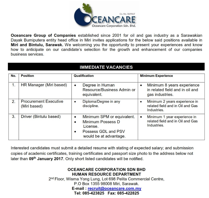 Oil &Gas Vacancies: VACANCIES AT OCEANCARE - SARAWAK