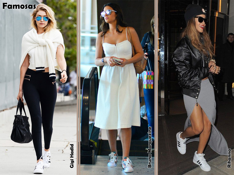 Tênis Adidas Superstar Como Usar Look Moda Estilo Fashion Tendência Sportwear famosas Celebridades Rihanna Bruna Marquezine Gigi