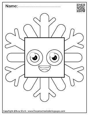 snowflakes with basic shapes preschool coloring pages ,free printables for kids, square