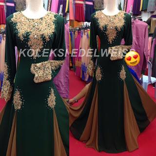 Set Nikah Dress Muslimah Terbaru 2017 Emerald Green
