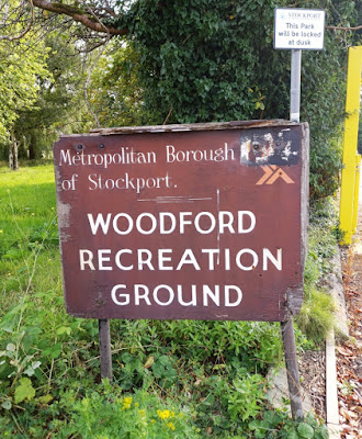 Old Metropolitan Borough of Stockport sign at Woodford Recreation Ground