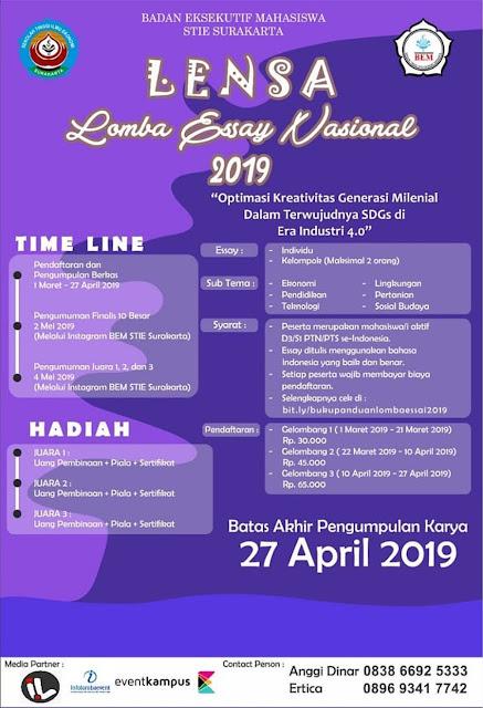 Lomba Essay Nasional LENSA 2019 Mahasiswa