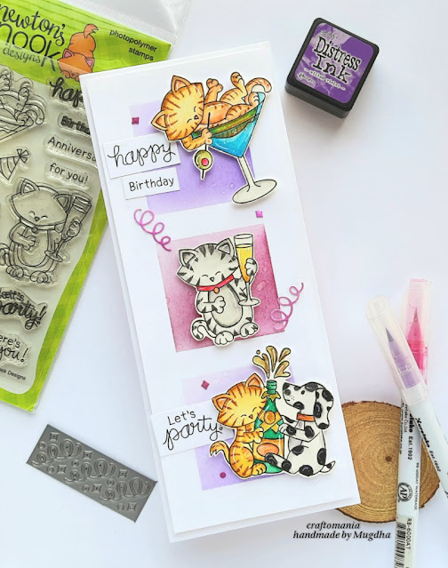 Happy Birthday Slimline Card by April Guest Designer Mugdha Gujarathi | Newton Celebrates Stamp Set and Slimline Masking Squares Stencil by Newton's Nook Designs #newtonsnook #handmade