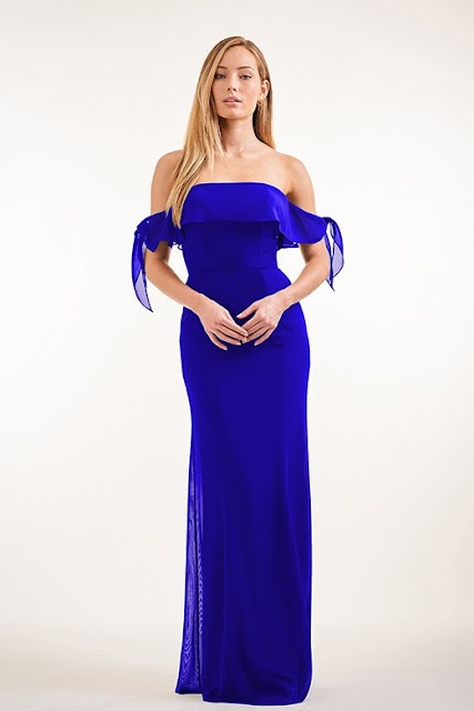 Dresses your bridesmaids will love and can wear again after the wedding - wedding dress ideas - blue charolette chiffon strapless dress with ruffle tie dress - wedding ideas blog - K'Mich Weddings Philadelphia - jasminbridal.com