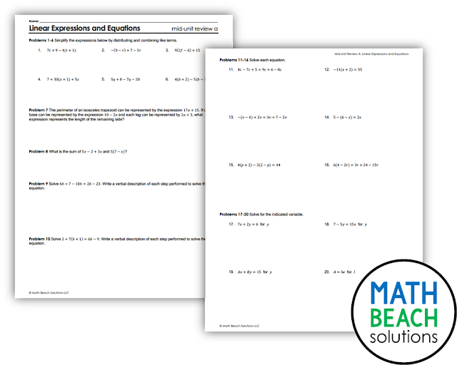 Texas Algebra 1 Mid-Unit Review