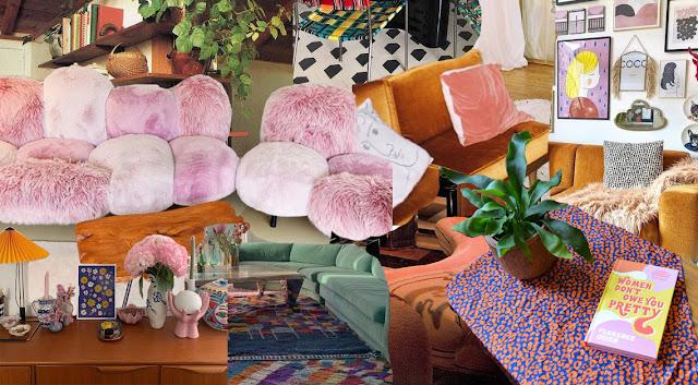 collage of retro furniture and interior design
