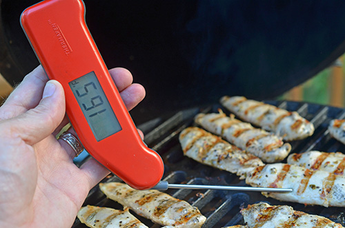 Using the Thermapen Classic to accurately measure the temperature.