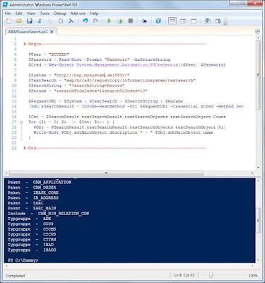 How To Use SAP HANA ABAP Source Search via PowerShell