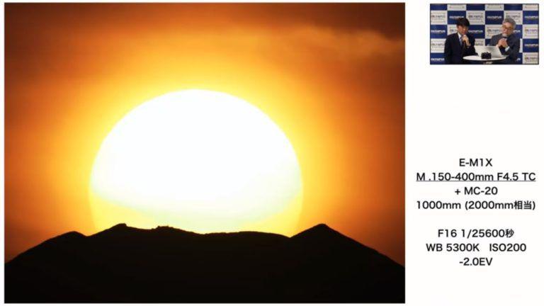 Фотография солнца за горой Фудзияма, сделанная с помощью объектива Olympus M.Zuiko 150-400mm f/4.5 TC1.25x IS Pro