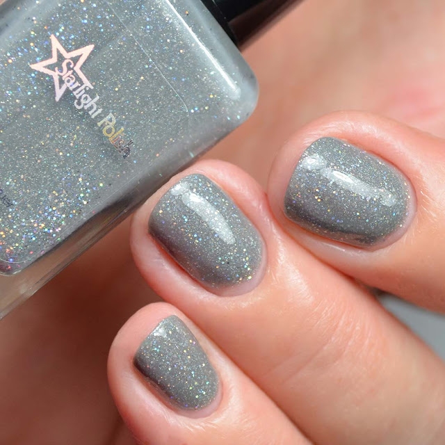 grey nail polish with holographic glitter swatch