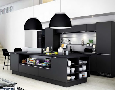 Modern kitchen island with black cabinets