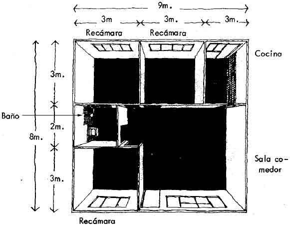 Idea 9-Vivienda un piso en terreno de 9 mts. de ancho