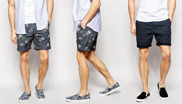 những mẫu giày phù hợp với quần short nam họa tiết