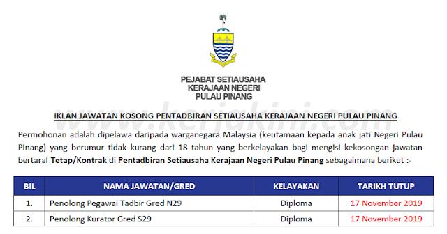 pejabat setiausaha kerajaan negeri pulau pinang iklan jawatan kosong