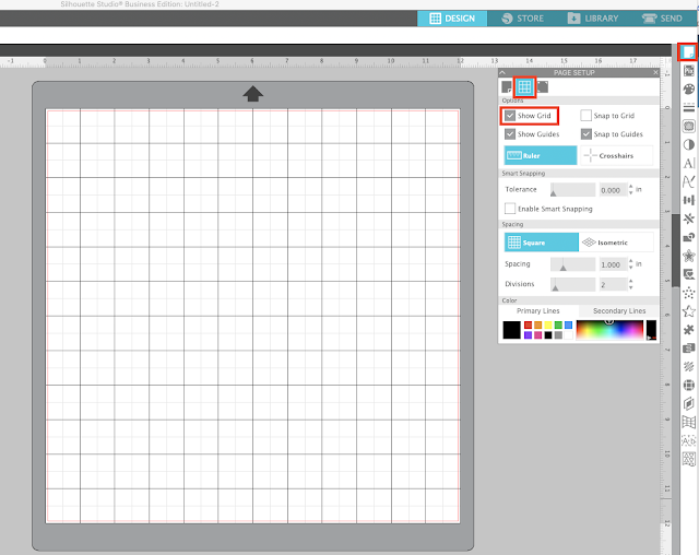 page setup panel, grid lines, silhouette studio, show grid, silhouette cameo mat