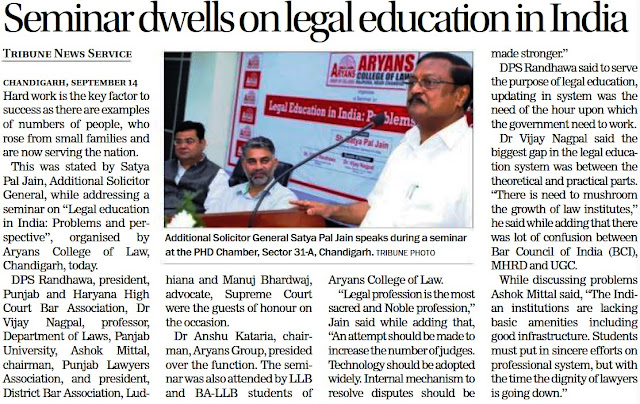 Additional Solicitor General Satya Pal Jain speaks during a seminar at the PHD Chamber, Sector 31 Chandigarh