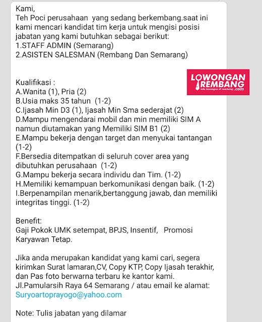 Lowongan Kerja Asisten Salesman Teh Poci Rembang