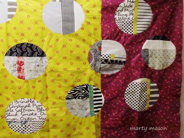 inset circles, improv circles patchwork sampler by marty mason