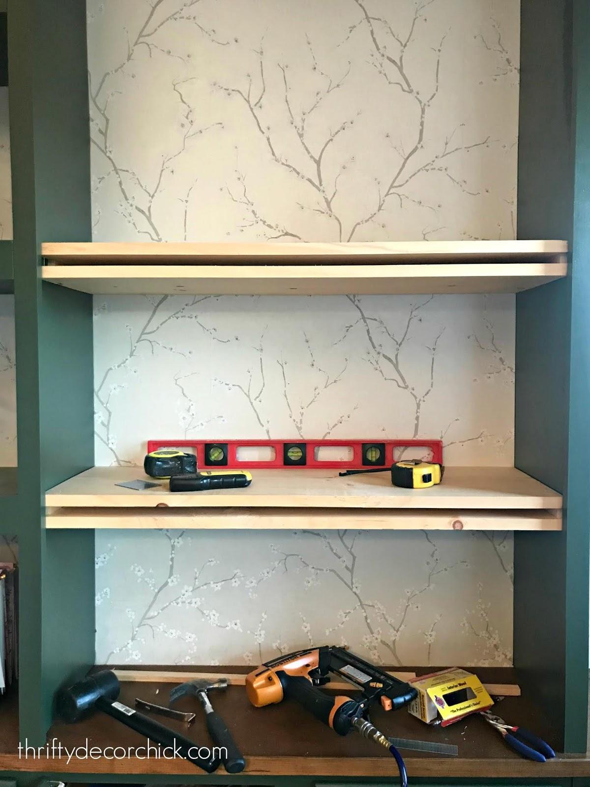 DIY bookcase shelf tutorial
