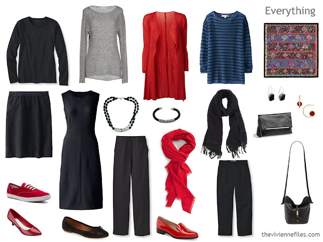 How to build a capsule wardrobe in a black, red, and blue colour palette