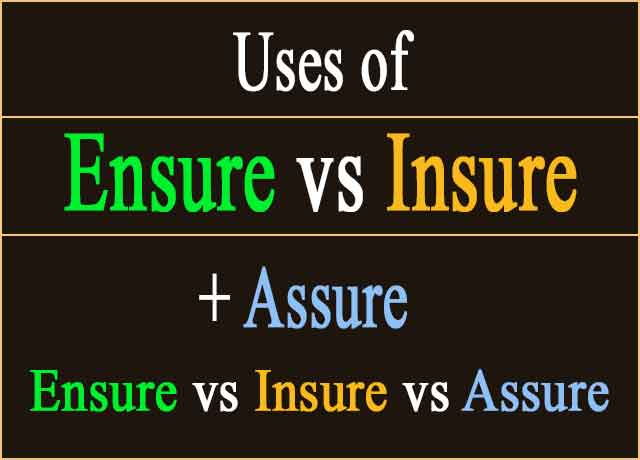 Difference Between Ensure vs Insure vs Assure Easily 100%