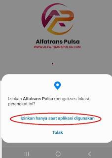 Izinkan Alfatrans Pulsa mengakses lokasi perangkat?
