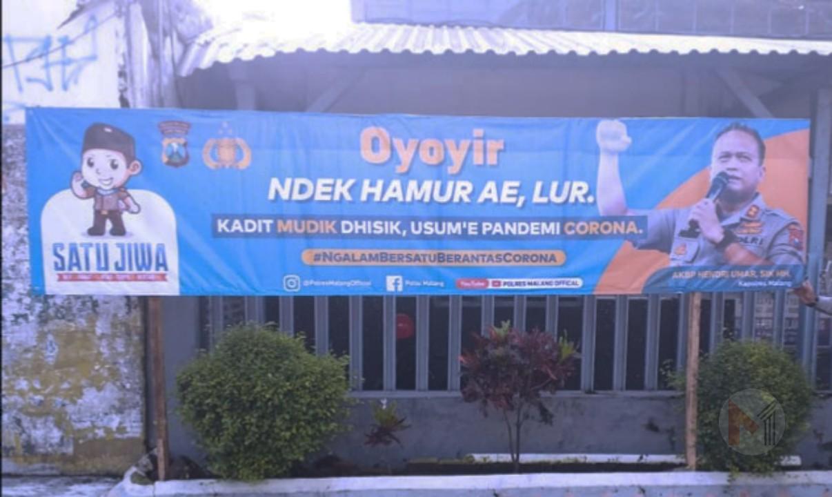 Polres Malang Pasang Imbauan Agar Tidak Mudik, Cegah Covid-19