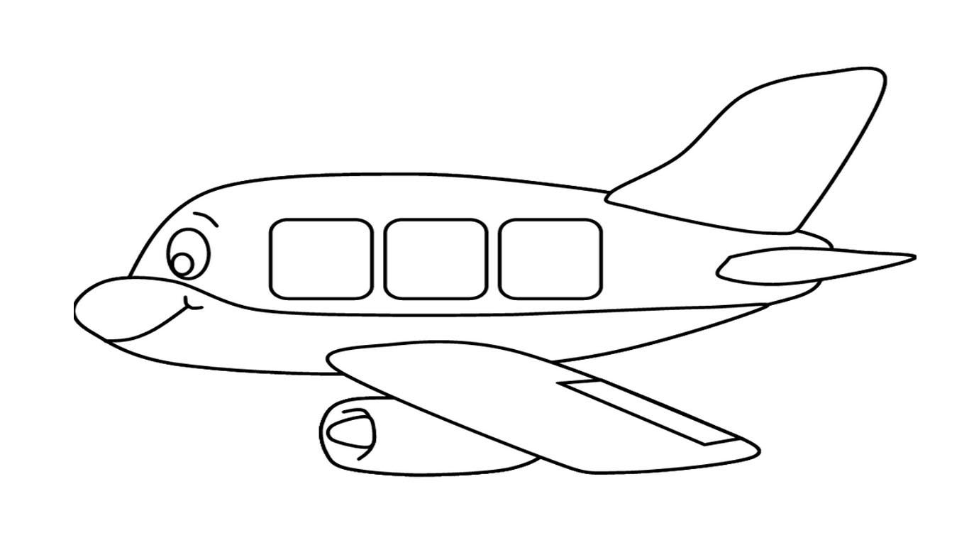 Gambar Mewarnai Pesawat Terbang Hitam Putih  Aneka Gambar