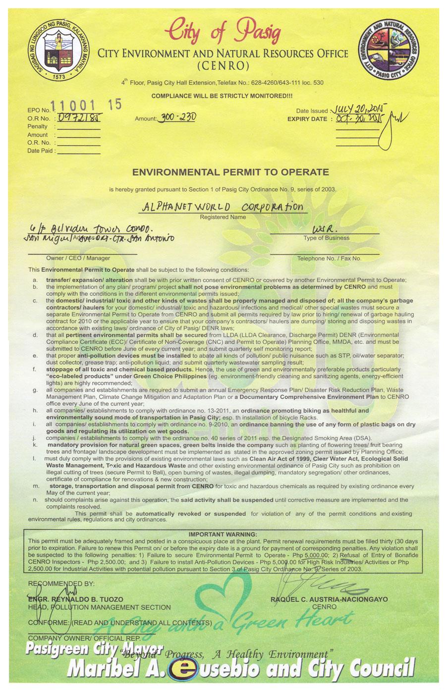 Environmental Permit
